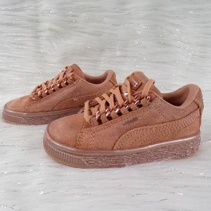 Puma Rose Gold Suede Sneakers Infant Size 7C